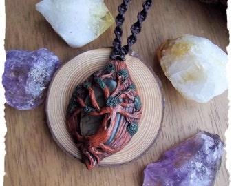 Labradorite Forest Spirit/Tree of Life Polymer Clay Pendant