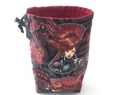 Black Widow, Dice Bag, Draw String Bag, Free Standing, Revisable, Gamer Bag, D&D Dice Bag, Makeup Bag, Small Gift Bag, Pouch, RTS