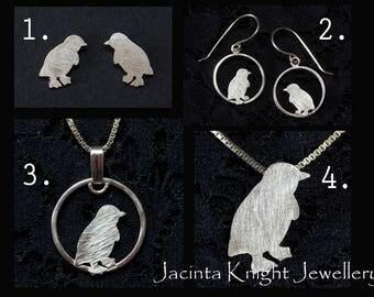 Sterling silver fairy penguin studs, dangle earrings or pendant