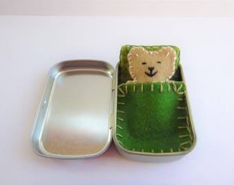 Bear in a Box™ w/ green bedding - felt teddy bear in Altoids tin - Altoids Smalls mini felt bear - travel toy - purse toy - ready to ship