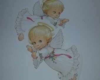 vintage baby angel girl set 2 large cards illustrations images art scrap paper supplies party decoration