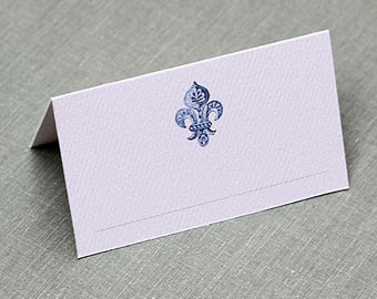 Blue and White Fleur de Lis Place Cards, Chinoiserie, set of 12