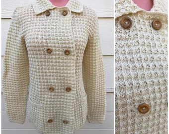Cream bubble hand knitted 60s double breasted cardigan size XLarge