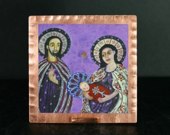 Holy Family Nativity Print Retablo Icon on Copper with Stand