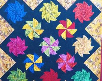 PinWheel Origami Quilt Pattern, Fairy Factory, Wall Quilt Pattern, Pinwheel Quilt Block, New Unused