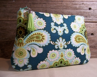 Clutch or Cosmetic bag in a blue and green amy butler fabric with waterproof washable lining - Make up bag or custom bag for wedding.