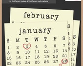 2012-2015 TYPEWRITER CALENDAR - Scrapbook Clip Art - Printable Digital Monthly Calendar  - Instant Download