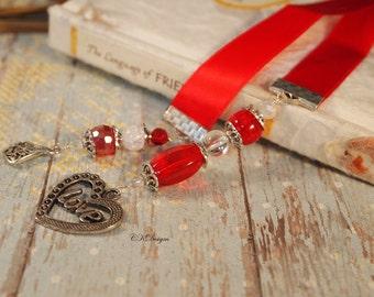 Red Beaded Ribbon Bookmark. Heart Charm Bookmark, Gift For Her, Book Lovers Gift, Teachers Gift, OOAK Handmade Bookmark. CKDesigns.US