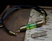 UV reactive liquid choker, spirit level gauge necklace, black light jewelry, unisex green choker, industrial necklace, science jewelry