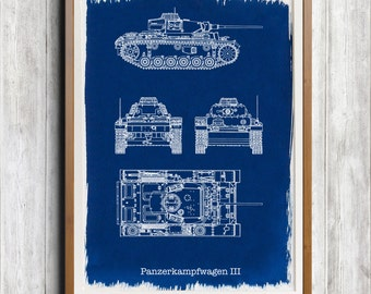 Panzer III Tank A4 Hand coated traditionally made cyanotype blueprint