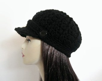 Crochet Newsboy Cap Black knit Cap with Visor Crochet Newsboy Hat Black Hat with Brim Lightweight Newsboy Black Newsboy Hat Cap with Buttons