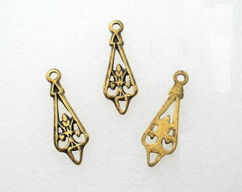 12 Pieces Tiny Antiqued Brass Charms