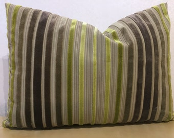 ACCENT lumber cushion cover in LIME GREEN and grey tones in narrow stripes on linen back ground,designer fabric by Zoffany in Rossini velvet