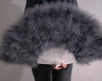 18*32inch Large  Burlesque Fan Dance  feather fan Bridal Bouquet Party Dance Fan Showgirl Large Fan Silver