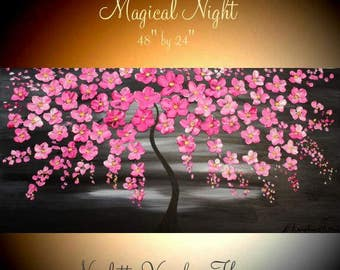 """48"""" Oil Landscape painting Abstract Original Modern palette knife Pink Cherry Blossom Tree impasto oil painting by Nicolette Vaughan Horner"""