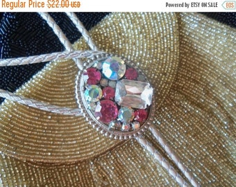 Christmas Sale Vintage Pink Ab Rhinestone Bolo Tie 1980's Mad Men Mod Rockabilly Hollywood Regency Jewelry