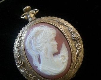 Now On Sale Vintage Cameo Compact ** Pocket Watch Locket Style Cameo Powder Compact