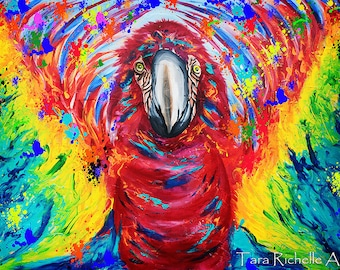 Parrot art, paint drip, art, modern,tropical,macaw,abstract,rainbow,travel art, bird flying, owls, parrot flying, tribal, trippy, funky