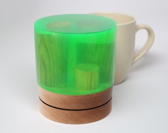 Handcrafted Wood Turning made from Maple & Oak Woods with Semi -Clear Green Resin – Collectible Art, Wedding, Housewarming Holiday Gift