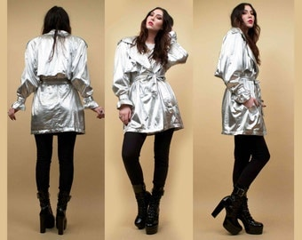 SOLD Last Layaway Payment for : 80s Vtg Silver Lamé Metallic Trench Coat Parka SPY Jacket