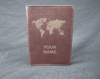 NAME Engraved Custom Leather Passport holder / cover, Personalized, Gifts