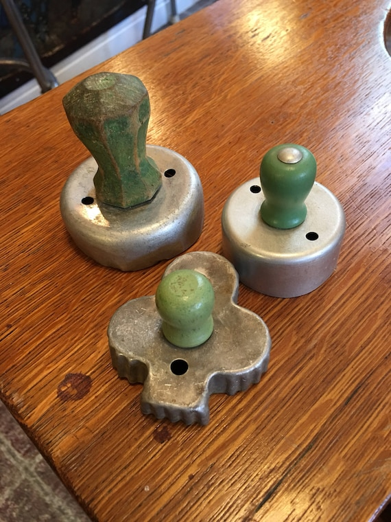 Set of 3 vintage green wood handle cookie cutters