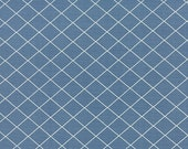 15% off thru 2/22 BREAD N BUTTER American Jane 21695-13 by the yard white bias grid lines on royal blue cotton quilt fabric Moda