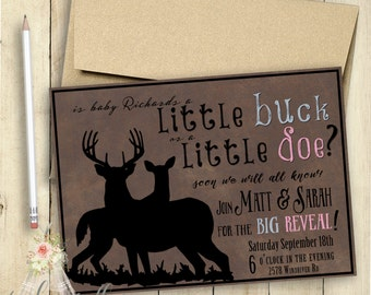 Buck or Doe Gender Reveal Invitation Gender Reveal Party Rustic PRINTABLE Customized Boy or Girl Gender Announcement Party Invite