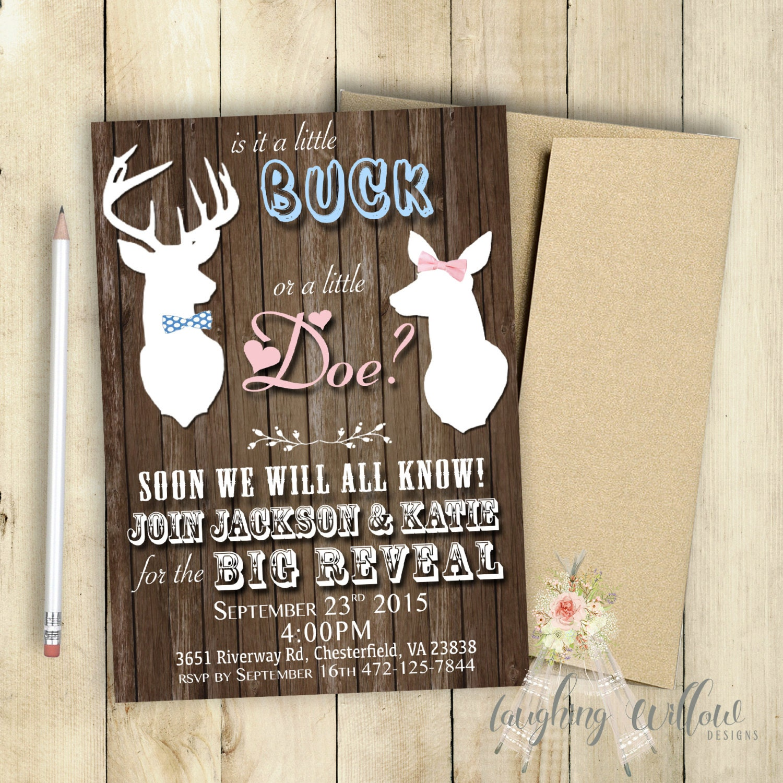 buck or doe gender reveal party invitation printable