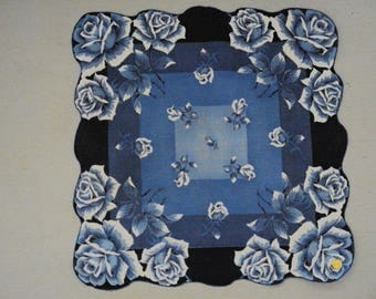 Vintage Diecut Hanky w/Tag ~~ Blue and White Roses