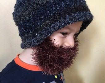 Handmade Crochet Beard hat, beard beanie. Bluish hat with brown beard,Mixed colors hat with brown beard, beard hat, kids, men beard hat