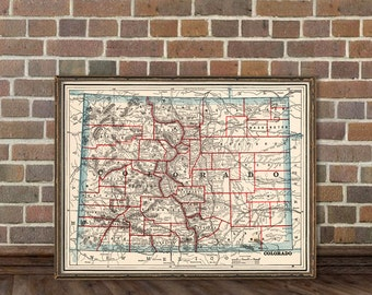 Old map of Colorado - Vintage map restored - Wall map print