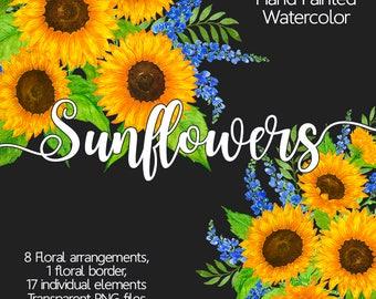 Sunflowers Clip Art - Watercolour Flower Clip Art, Watercolor Sunflower, Floral Border, Summer Floral Clipart, Hand Painted Flowers, Wedding