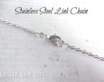 Stainless Steel Jewelry Link Chain with Lobster Clasp - 3x4mm Oval Open Links Non Tarnish Hypoallergenic
