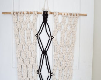 Handmade Macrame Wall Hanging Black and White Macrame Fiber Art Boho Wall Bohemian Decor Cotton Weaving Large Macrame Wall Hanging