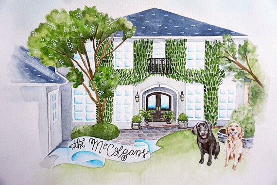Custom Watercolor Home Portrait House Painting Home