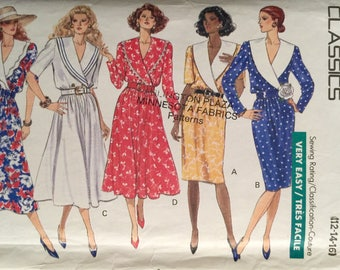 Butterick 3928, Size 12-14-16, Misses' Dress Pattern, UNCUT, Classic, Flared Skirt, Wrap Style, Very Easy Pattern, Vintage 1989
