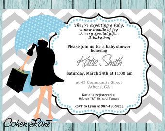 Printable Modern Mom Baby Shower Invitation.  Printable Baby Boy Chevron Shower Invitation.  Umbrella Mom Shower Invite.  Baby Shower Invite