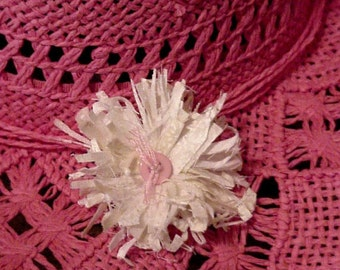 Unique Flower Brooch, Tattered Frayed Cowgirl Hat Pin White Fabric Floral Corsage Western Boho Lapel Pin, Fashion Accessory itsyourcountry