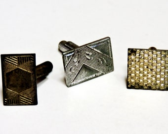 Three Single Metal Cuff Links, Vintage Odd Mismatched Mens Dress Shirt Cufflinks, Art Craft Jewelry Bits 2 Upcycle Repurpose itsyourcountry