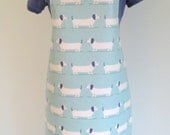 Rows of Cute Dachshund Dogs Adult Matt Oilcloth Apron, PVC Apron, Waterproof Apron