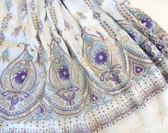 Long Gypsy Skirt: White Maxi Skirt, Flowy Bohemian Crinkled Peasant Skirt, Festival Boho Indian Belly Dance Skirt, Purple Floral Cover Up