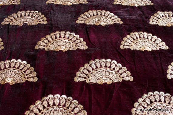 Half yard burgundy embroidered velvet fabric wedding