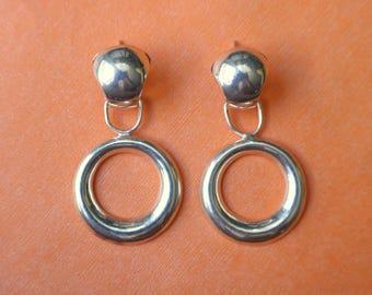 Silver Circle Earrings / Drop Hoop EARRINGS / Vintage Modernist Sterling Jewelry / Large Earrings
