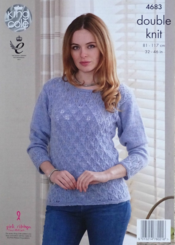 db09328655225 Womens Knitting Pattern K4683 Ladies Long Sleeve Diamond Lace Jumper  Knitting Pattern DK (Light Worsted) King Cole