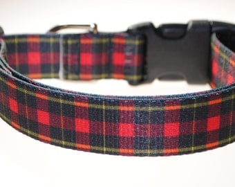 "Red and Black Plaid - 1"" Wide Adjustable Dog Collar"