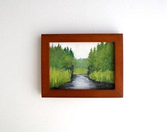 Framed Adirondack River Painting
