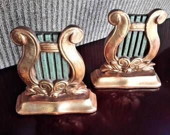 Italian Borghese Bookends Musical Lyre Gold Gilted Florentine Lux Decor