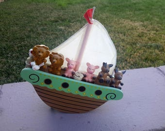 Vintage Noahs Ark Childrens Gift Rocking Music Box Talk To The Animals Lions Pigs Cows Birds Two by Two