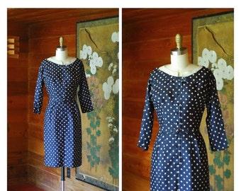 20% OFF FALL SALE / vintage 1950s dress / 50s dark blue polka dot wiggle dress / size xs small